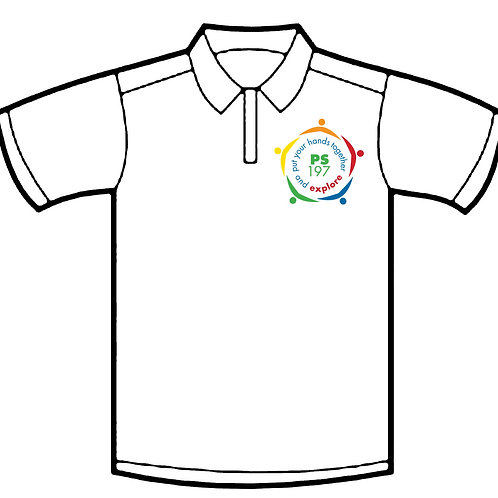 White Polo Shirt with Embroidered School Logo