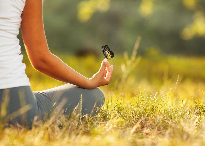 Young woman practicing morning meditatio