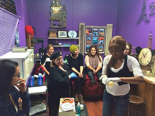 Sue Teaching Waxing Class in Paris Esthetician Room