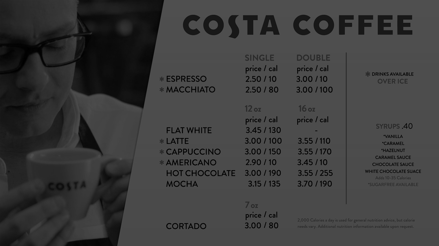 Costa Coffee Digital Menu