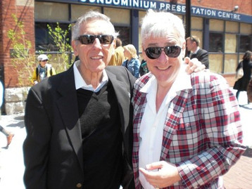 JAYMZ BEE AND GENE DINOVI IN THE DISTILLERY DISTRICT OF TORONTO