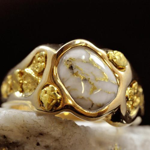Gold Quartz Mens Rings