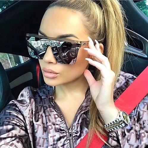 Sunglasses Women Big Frame Retro Mirror UV400
