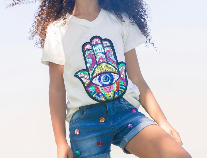 Sequin Hamsa T-shirt