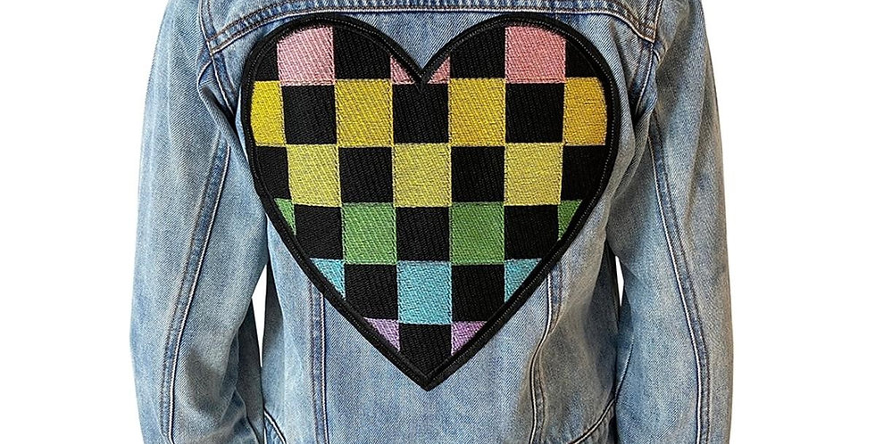 Crystal Checkered Heart Denim Jacket