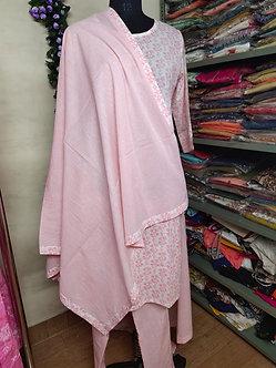 Rich cotton round neck kurti set with dupatta