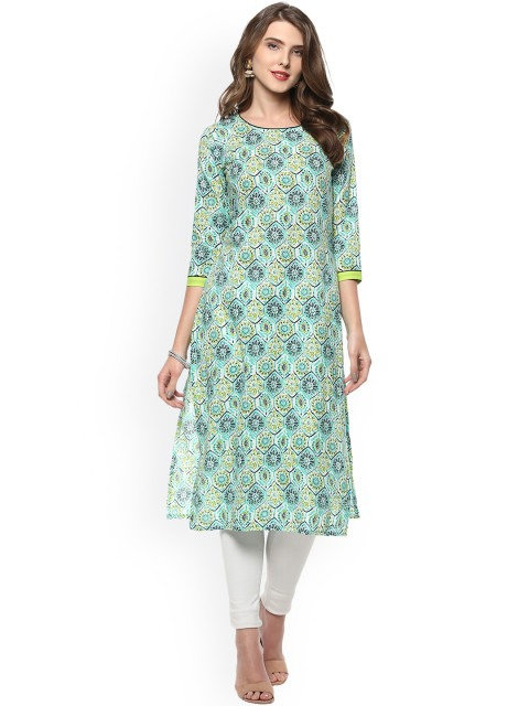 Off-White & Green Printed Straight Kurta (LOSA42)