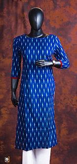 Blue printed crepe straight kurti set with scarf