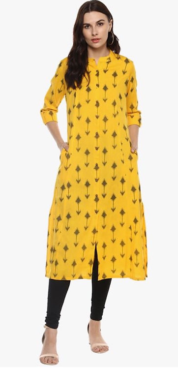 Sunflower Yellow Cotton Flex Printed A-Line Kurta (LOSA40)