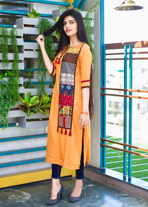 Rich Sunflower Yellow Cotton Hand stitched dupatta design A-Line Kurta (LOSA50)