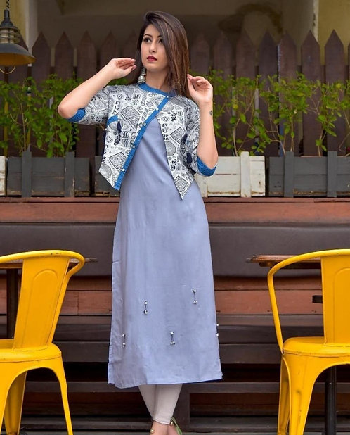 Rich Grey Cotton Kurti with hand stitched jacket (LOSA53)