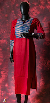 Maroon printed straight cotton Kurti with printed sleeves