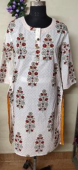 Rich cotton block print pattern round neck kurti
