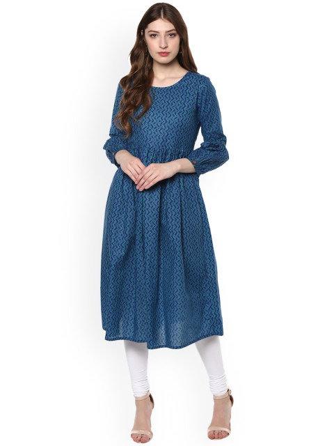 Blue Printed Anarkali Kurta (LOSA18)