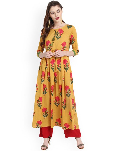 Yellow Printed Anarkali Kurta (LOSA12)