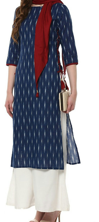 Blue Printed Crepe Straight Kurti Set (LOSA41)
