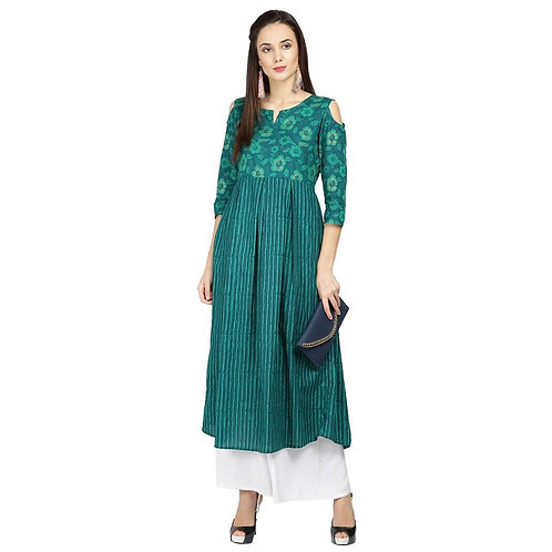 Teal Striped A-Line Kurta (LOSA23)