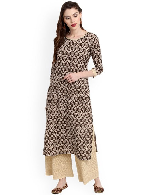 Brown Printed Straight Kurta (LOSA7)