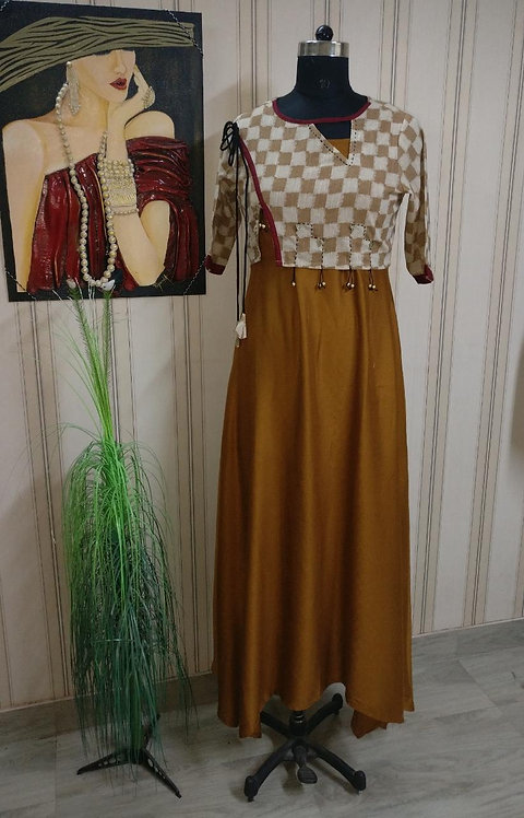 Rich Flowing Henna dress with hand stitched jacket (LOSA55)