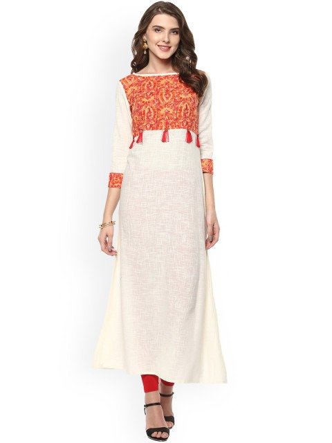 Cream-Coloured Woven Design A-Line Kurta (LOSA17)