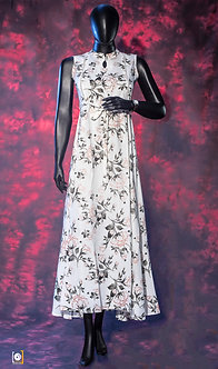 Off-White Printed Sleeveless Anarkali Kurta