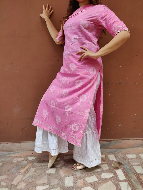 Pure cotton Pink golden printed Kurta and bottom (LOSA8)