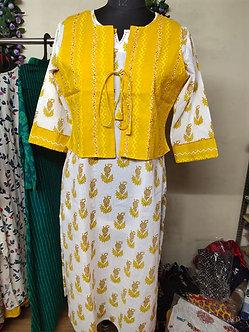 Rich cotton kurti with hand stitched jacket