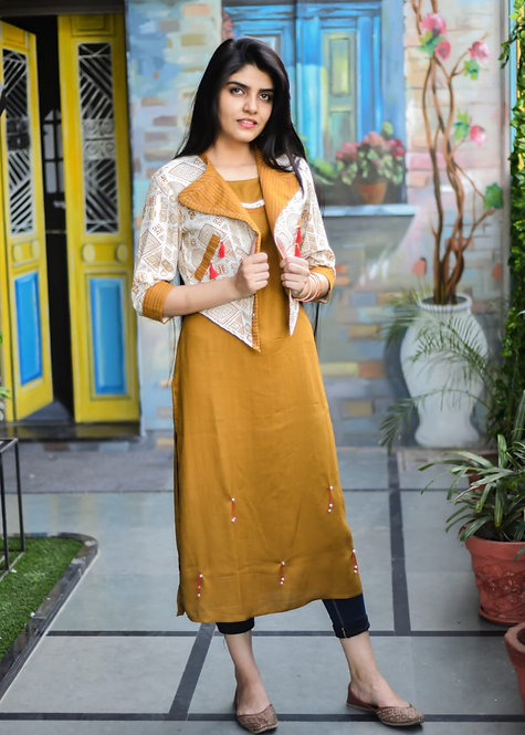 Rich Cotton Kurti with hand stitched jacket (LOSA52)