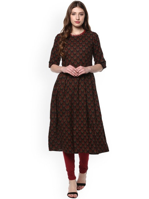 Black & Red Printed Anarkali Kurta (LOSA14)
