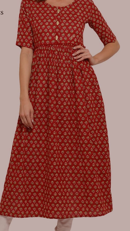 Block printed cotton Anarkali Kurta (LOSA45)