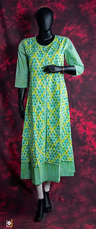 Green Printed A-Line cotton Kurti
