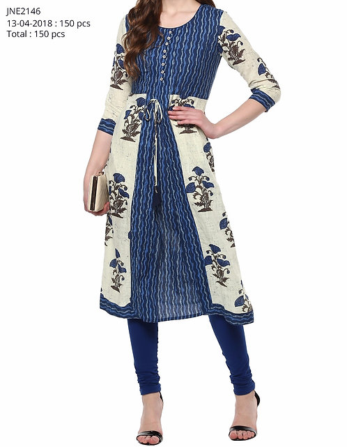 Blue & Off-White Printed A-Line Kurta (LOSA34)