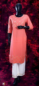 Light pink cotton kurti set with golden lace design