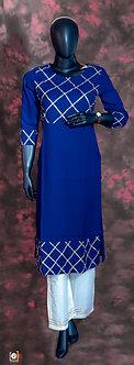 Dark Blue cotton kurti set with golden lace design