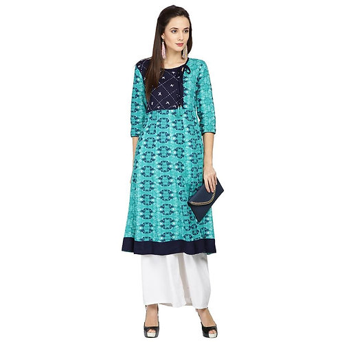 Turquoise printed casual straight kurti (LOSA47)