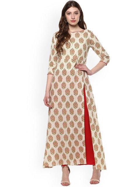 Cream printed cotton side slit kurti (LOSA10)