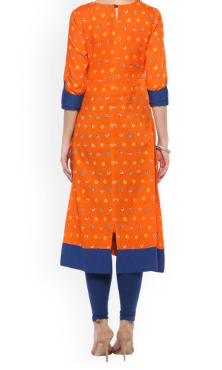 Orange Printed A-Line Kurta (LOSA24)