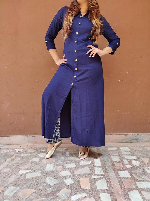 Rich blue Cotton Long design A-Line Kurta (LOSA27)