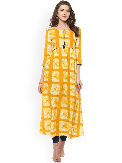 Yellow Printed Cotton casual kurti (LOSA21)