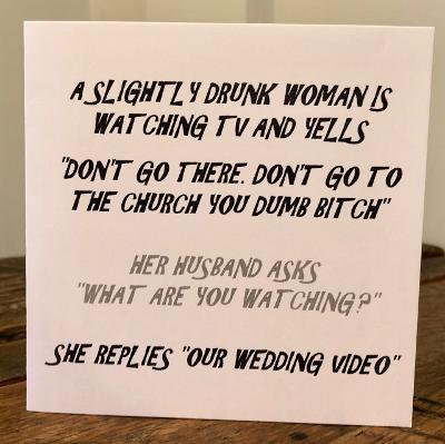 A slightly drunk woman greeting card