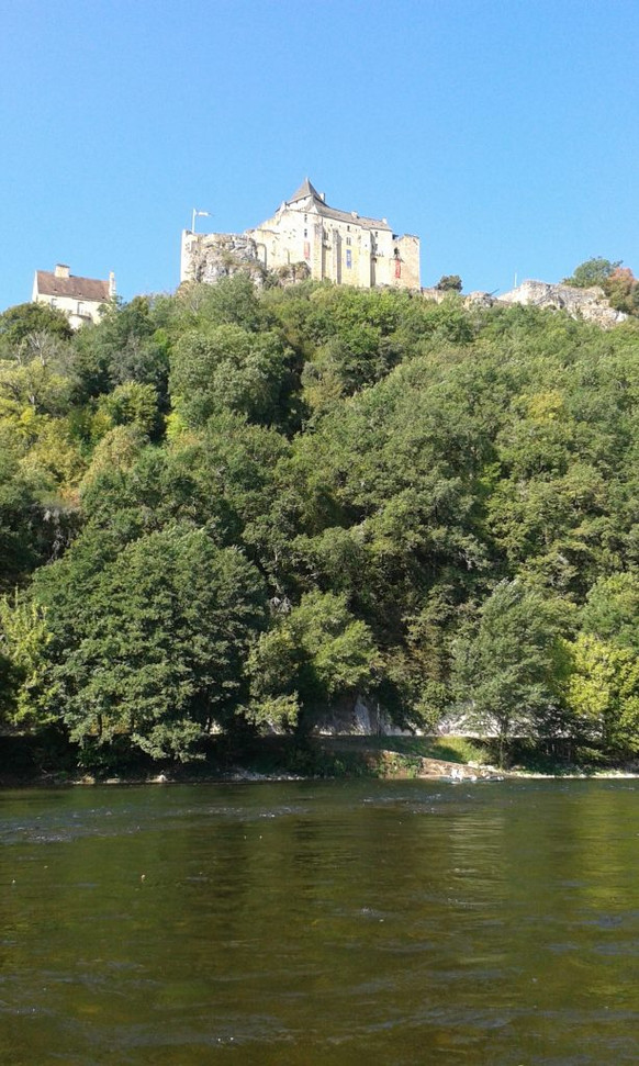 The Château de Castlenaud loomed ahead, partly hidden by the trees clinging to the hillside, its pale stone ramparts catching the sun, rising into the sky. (Part 3, chapter 12)