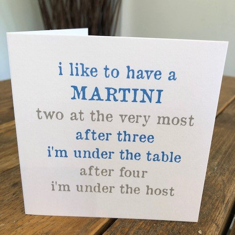i like to have a martini greeting card