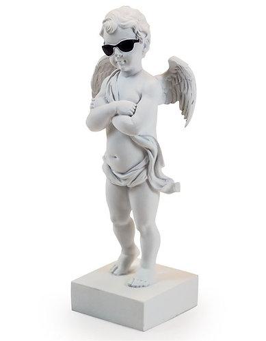 """White """"Too Cool"""" Cherub Figure on Base"""