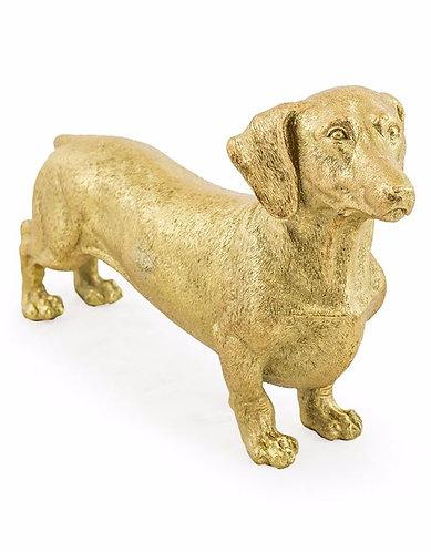 Large Gold Dachshund Figure