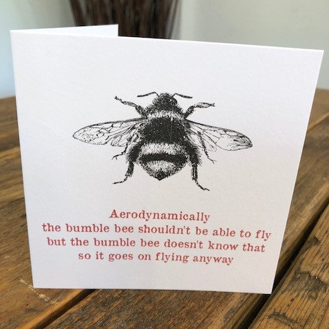 bumble bee shouldn't fly greeting card