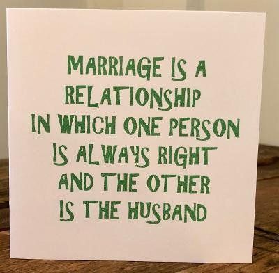 marriage is a relationship greeting card