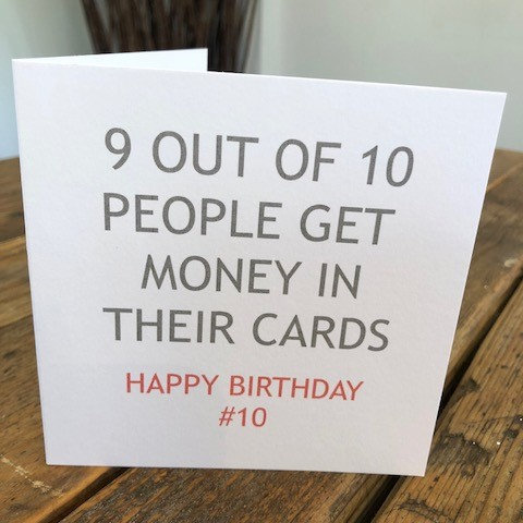 9 out of 10 people get money greeting card