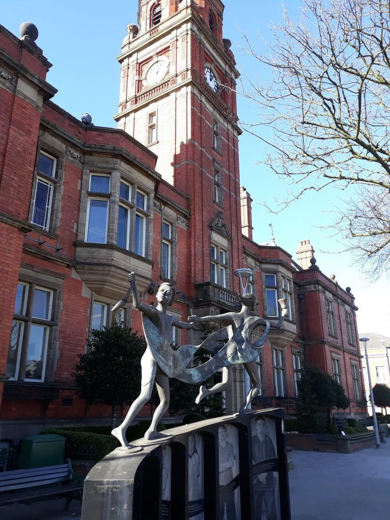 The memorial to the Hyde Chartists outside Hyde Town Hall