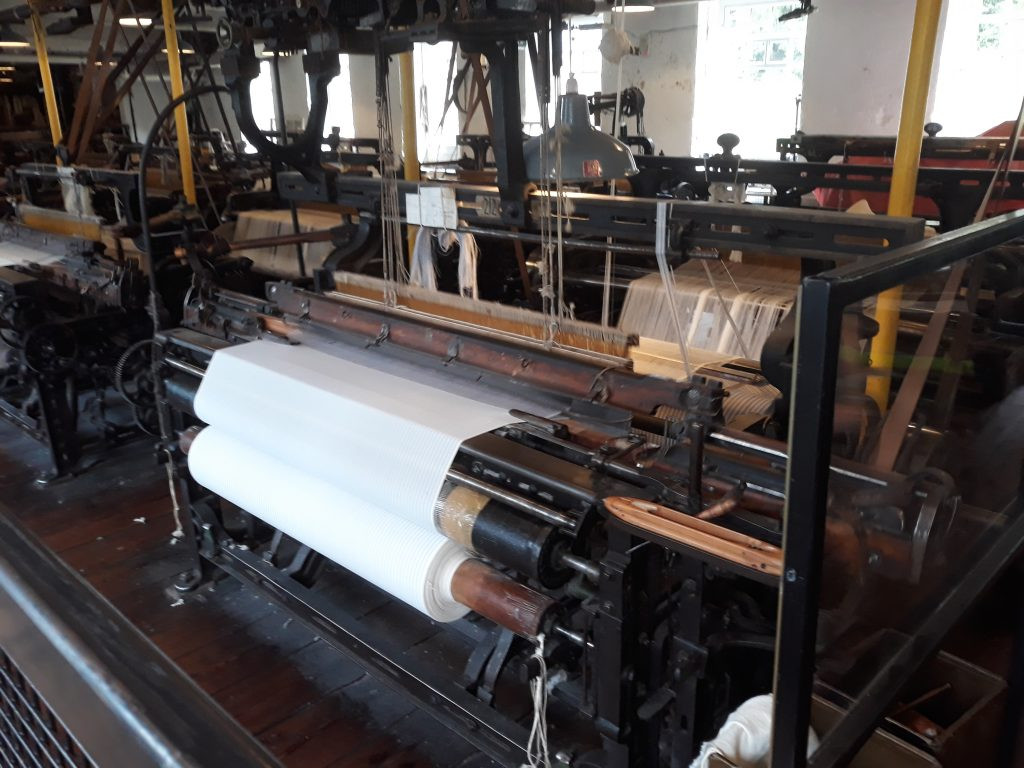 Rows of typical 19th century power looms