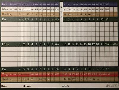 Westwood Golf Club Scorecard